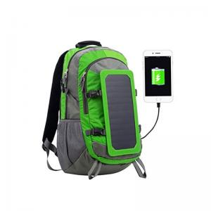 Solar power panel backpack nylon green